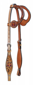 Western Natural Leather Hand carved  with Pink Inlay By Aledo Saddlery