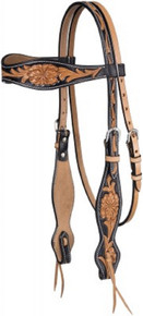 Western Two Tone Leather Hand Carved Browband Style Headstall By Aledo Saddlery