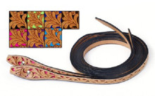 Western Natural Leather Hand Carved Cut out Split Reins By Aledo Saddlery