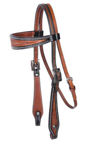 Western Two Tone Browband Style Basket Tooled Hedstall By Aledo Saddlery