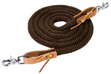 """Western Brown Nylon Rolled Roping Reins 96"""" with Natural Leather Water Loop By Aledosaddlery"""