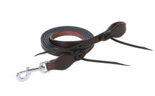 """Western Havana Leather Roping Reins 96"""" with Natural Leather Water Loop By Aledosaddlery"""