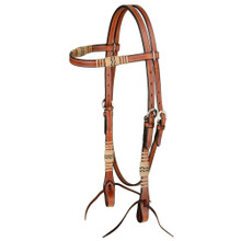Western Natural Leather Rawhide Braided Browband Style By Aledosaddlery