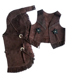 Western Brown Set of Junior Chap and Rodeo Vest with Gun and Filigree By Aledo Saddlery