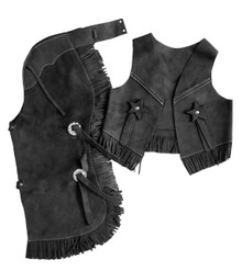 Western Black Set of Junior Chap and Rodeo Vest with Gun and Filigree By Aledo Saddlery