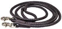Western Black Softy Braided Roping Reins with Rawhide Knots By Aledo Saddlery