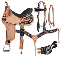 Western Natural Leather Hand Carved Barrel Racer with Matching Tack By Aledo Saddlery