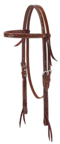 Western Brown leather Hand Carved Set of Headstall/Breast Collar & Noseband By Aledo Saddlery