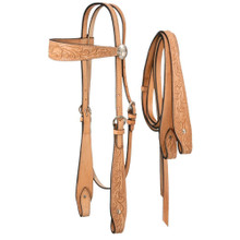 Western Natural Leather Set of Browband Style Headstall & Reins with Silver Dots By Aledo Saddlery