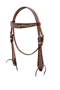 Western Two Tone Leather Browband Style Headstall with Hand carving By Aledo Saddlery