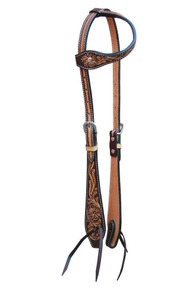 Western Two Tone Leather One Ear  Style Headstall with Hand carving By Aledo Saddlery