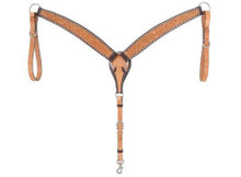 Western Natural leather Hand Carved Breast Collar with Rawhide BuckStitched By Aledo Saddlery