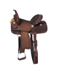 Western Brown Leather Hand Carved Barrel Racer By Aledo Saddlery