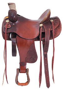 Western Tan Leather Hand Carved Roping Ranch By Aledo Saddlery