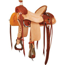 Western Brown & Rough Out  Leather Hand Carved Roping Ranch By Aledo Saddlery