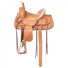 Western Natural Leather Hand Carved Roping Ranch By Aledo Saddlery