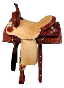 Western Natural & Mahagony Leather  Hand Tooled Barrel Racer with Softy Braided Horn By Aledo Saddlery