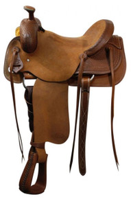 Western Brown Rough Out Roper Ranch Hand Carved Saddle with Strings By Aledo Saddlery