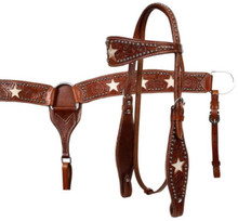 Western Natural leather Set of Headstall and Breast Collar with Star Inlay By Aledo Saddlery