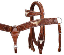 Western Natural leather Set of Headstall and Breast Collar with Bull Head Inlay By Aledo Saddlery