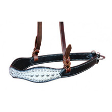 Western Black Leather White Overlay Padded Noseband with Dots By Aledo Saddlery