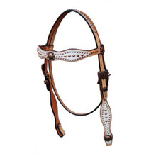 Western Natural Leather White Overlay Browband Style Headstall with Dots By Aledo Saddlery