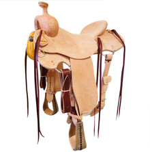 Western Strip Down Natural Leather Hand carved Roper Ranch with Cinch  By Aledo Saddlery