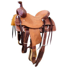 Western Brown& Natural  Leather Hand carved Roper Ranch with Cinch  By Aledo Saddlery