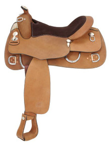 Western Natural Leather Pleasure Trail Saddle  with Silver Hardware By Aledo Saddlery