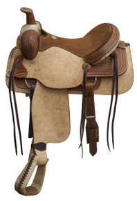 Western Brown & Natural Leather Roper Ranch Saddle with Hand Carving  By Aledo Saddlery