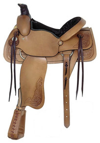 Western Natural Leather Roper Ranch Saddle with Hand Carving  By Aledo Saddlery