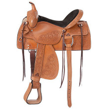Western Natural Waxed Finished Leather Roper Ranch Saddle with Hand  Carving  By Aledo Saddlery