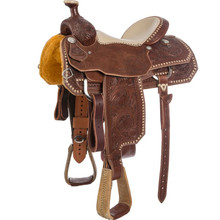 Western Brown Rough Out  Roper Ranch Saddle with Suede Seat  By Aledo Saddlery