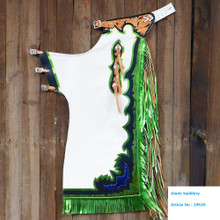 Western White Top Grain Bull Riding Rodeo Chaps with Green Fringes  By Aledo Saddlery