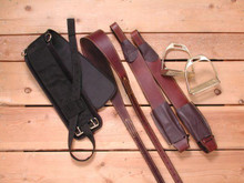 Western Brown Leather Replacement Fenders with Stirrups and Girth By Aledo Saddlery