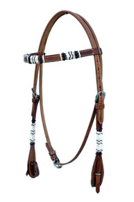 natural browband style rawhide braided headstall