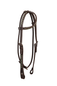 western leather green stones studded headstall