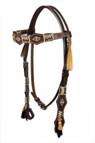 leather browband style rawhide braided headstall