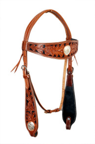 western natural hand carved shaped browband headstall