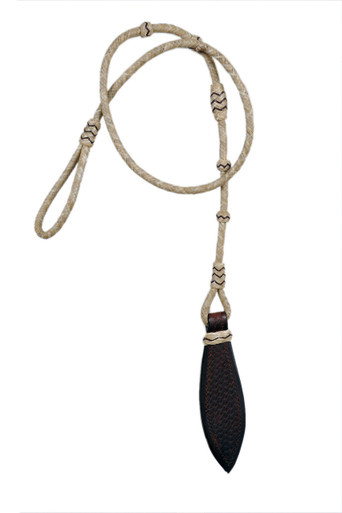 western dark oil over under whip with leather tolled popper