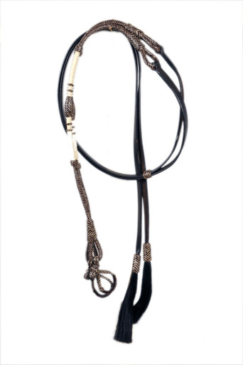 western dark brown leather rawhide braided split reins