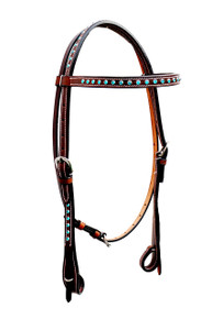 brown leather browband stones studded headstall