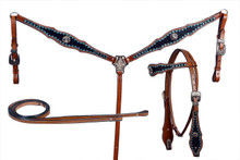 western natural leather headstall/breast collar & reins