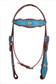 natural leather headstall/breast collar & reins