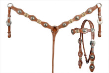 leather rawhide braided headstall & breast collar set