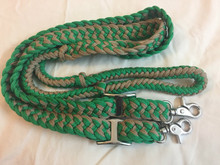 Nylon Green & Beige Braided & Knotted Roping Reins