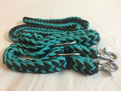 Nylon Braided & Knotted Green & Brown Roping Reins