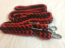 Nylon Braided and Knotted Red & Black Roping Reins
