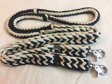 braided & knotted nylon roping reins with trigger snaps