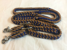 Western Nylon Braided & Knotted Blue/L Brown Roping Reins